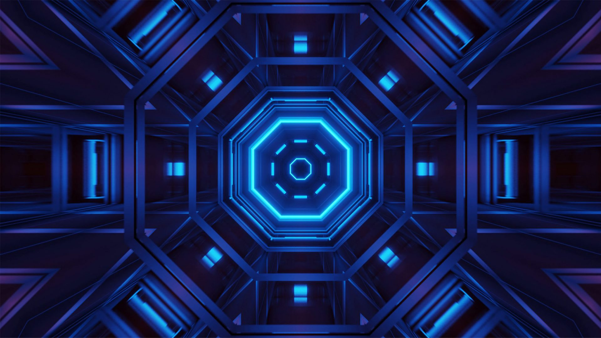 Rendering abstract futuristic background with glowing neon blue lights